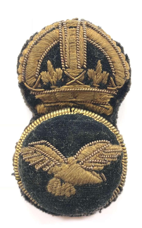 WW1 RAF 1st Pattern Senior NCO Bullion Embroidered Cap Badge.