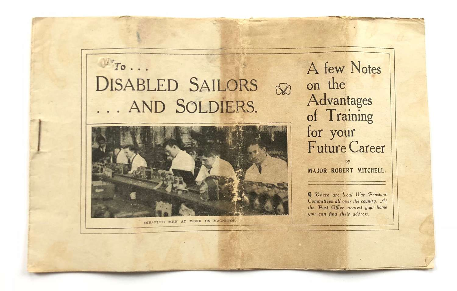 WW1 Rare Official Booklet for Disabled Sailors and Soldiers.