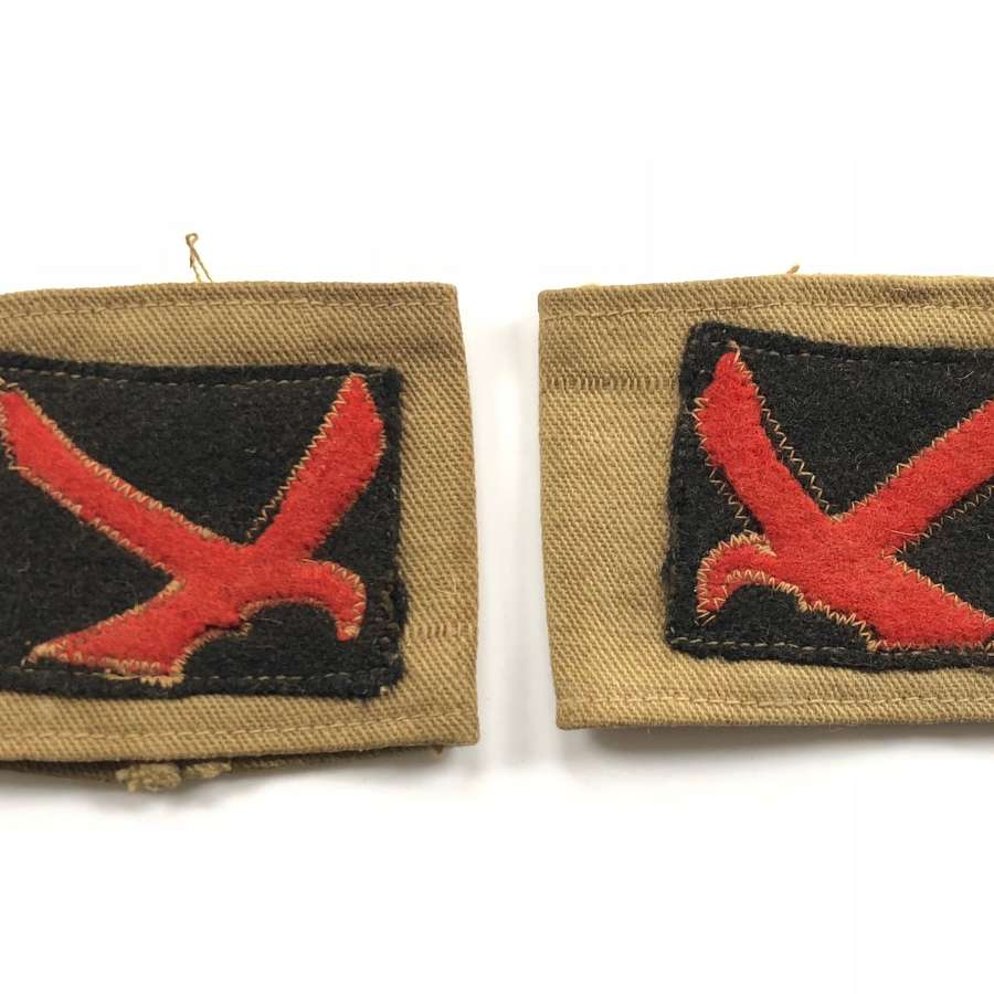WW2 4th Indian Division Theatre Made Slip on Div Badges.