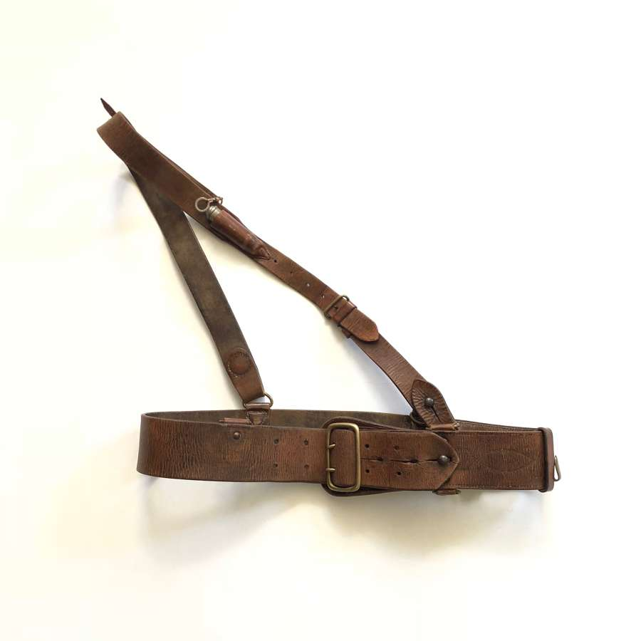 WW1 Period Officer's Sam Brown Belt with Whistle Pouch.