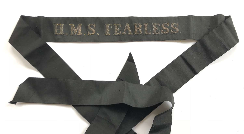 WW1 Royal Navy HMS Fearless Rating's Cap Tally.