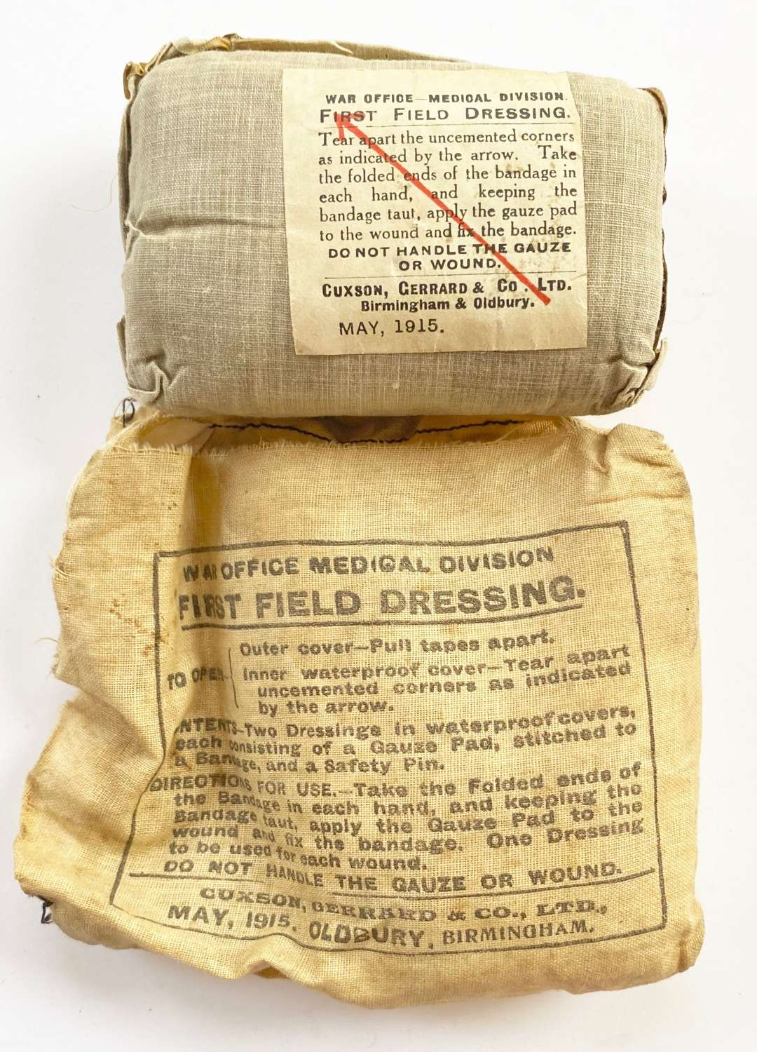 WW1 November 1915 First Field Dressing.