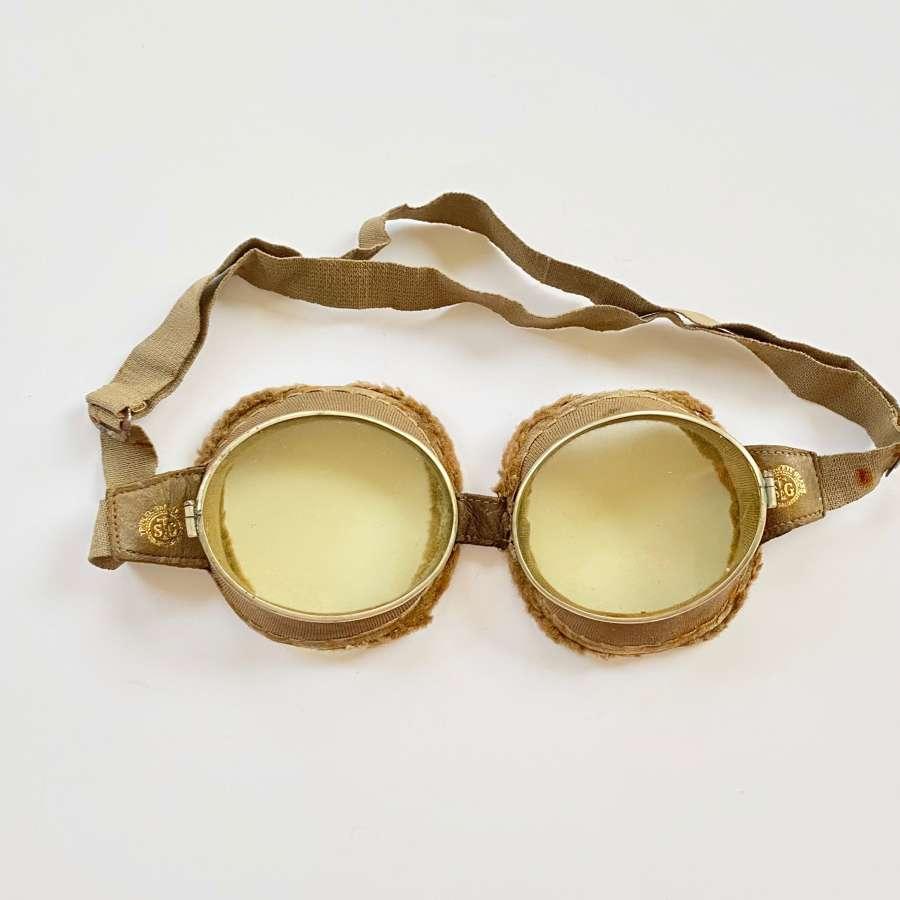 WW1 RFC RNAS RAF Pattern Triplex Flying Goggles.