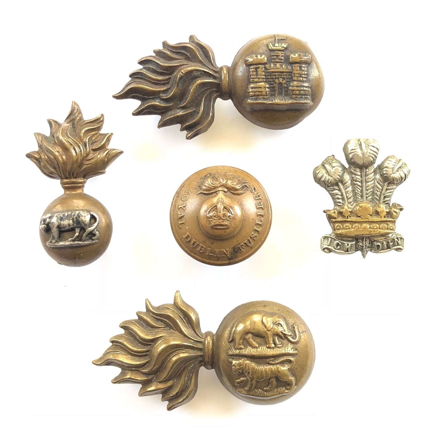 Selection of Pre 1922 Irish Regiment Collar Badges & Button