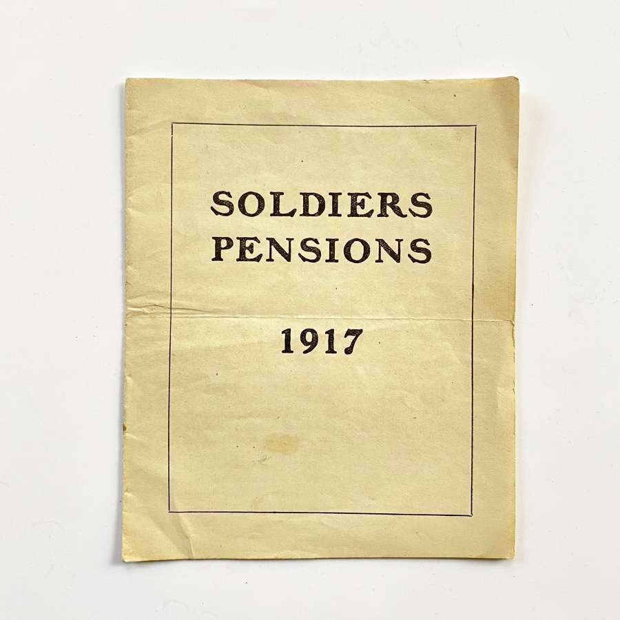 WW1 1917 Soldier's Pensions Booklet.