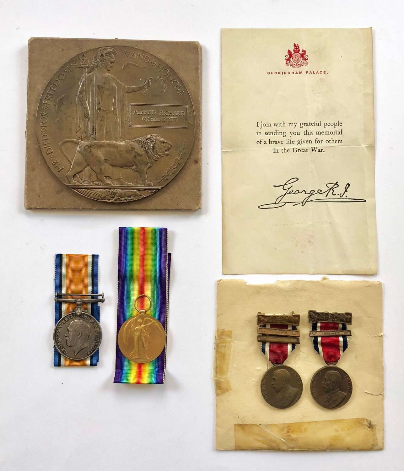 WW1 18th (Arts & Crafts) Bn King's Royal Rifle Corps Casualty Medals