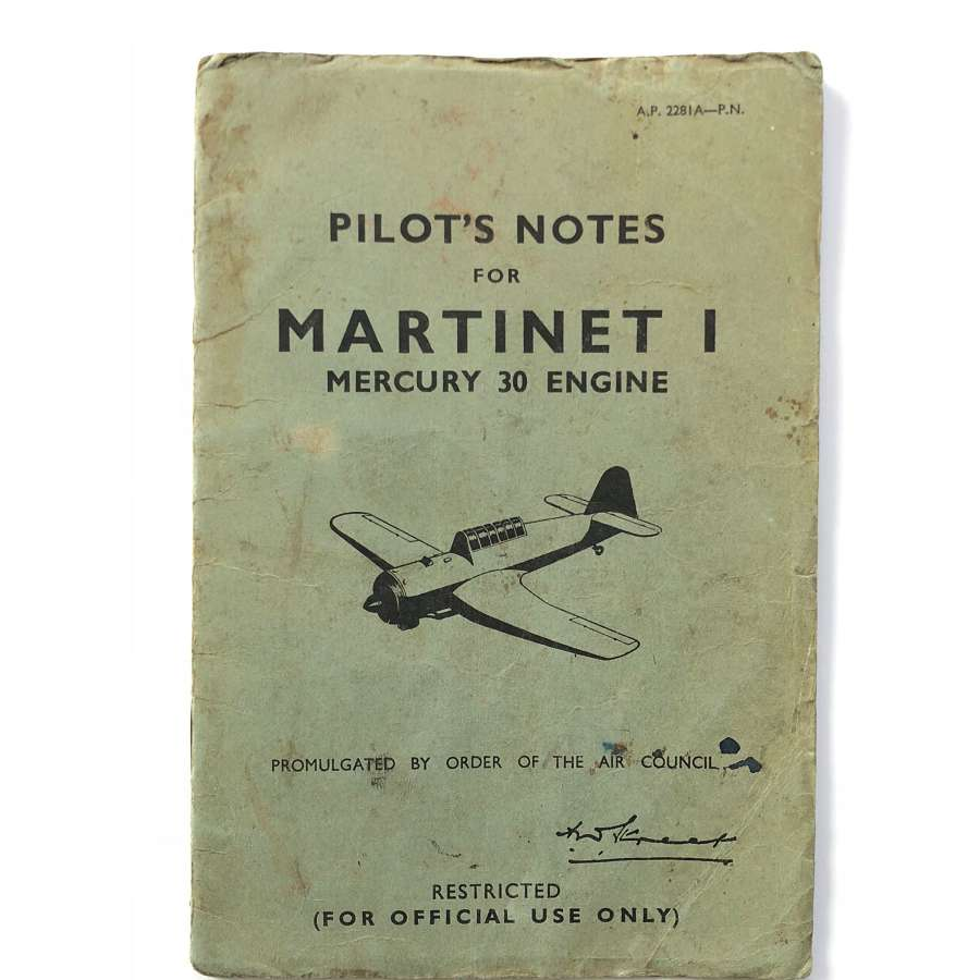 WW2 1943 RAF Martinet I Original Pilot Notes.