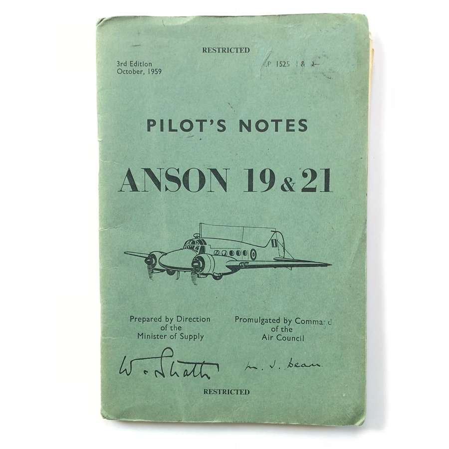 RAF Avro Anson ORIGINAL Pilot Notes.