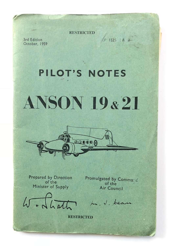 RAF Avro Anson ORIGINAL Pilot Notes.