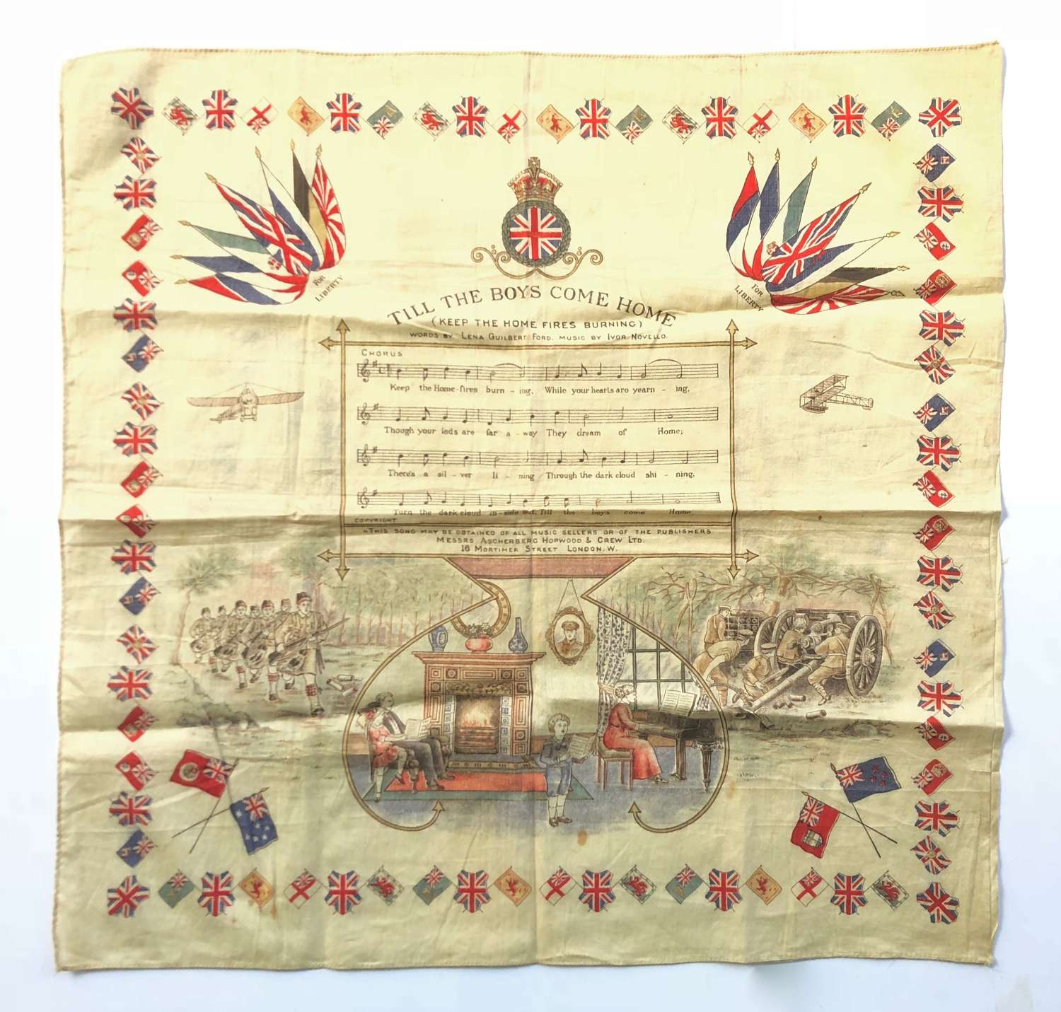 WW1 Keep The Home Fires Burning Patriotic Printed Cotton Handkerchief