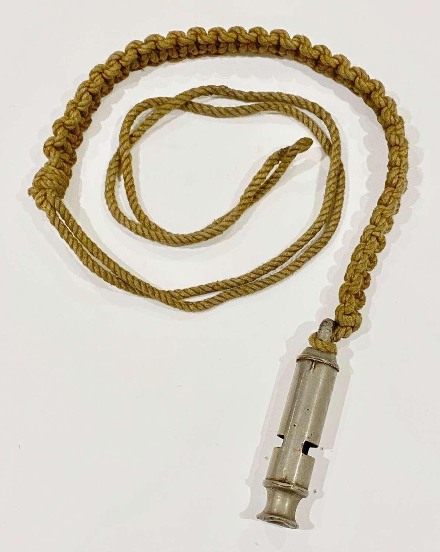 WW1 Pattern Whistle & Lanyard.