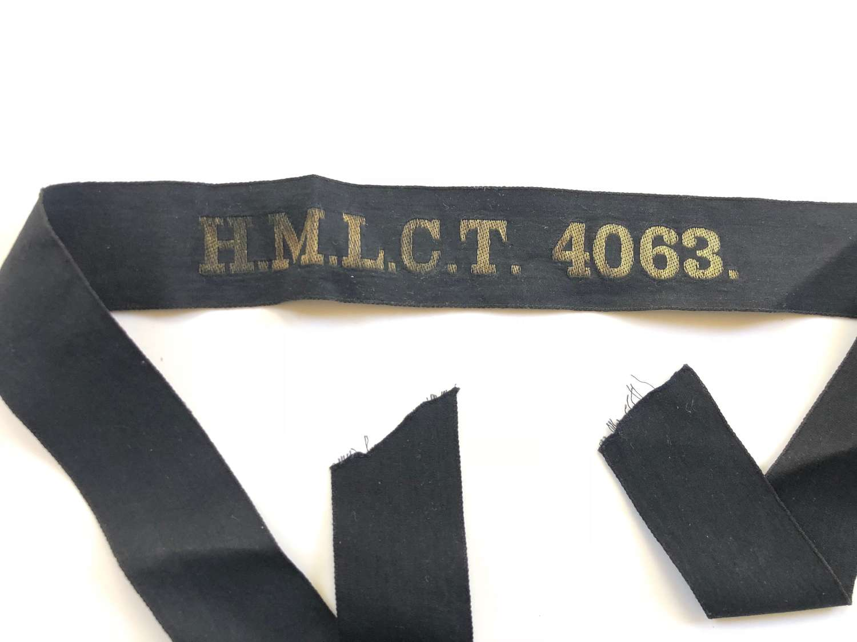 Royal Navy Landing Craft Tank HMLCT 4063 Ratings Cap Tally Badge.