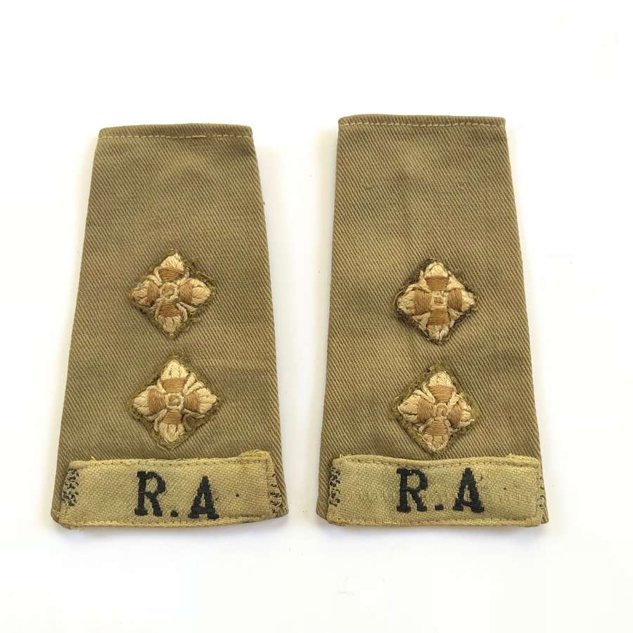 WW2 Royal Artillery Slip On Officer Rank Slides.