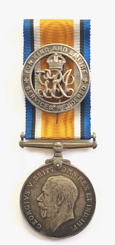 WW1 Welsh Regiment British War Medal and Silver War Badge.