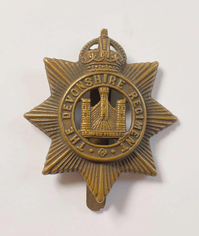 WW1 Devonshire Regiment All Brass Economy Cap Badge.