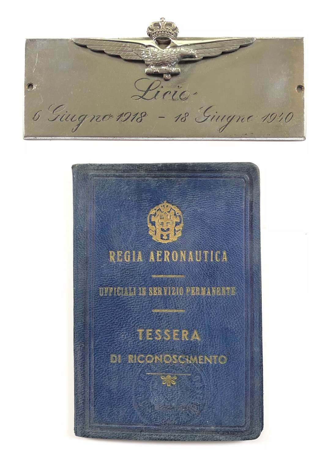 WW2 Italian Air Force Officer's ID Booklet and Plaque.