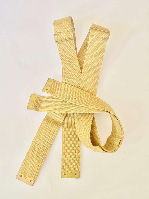 WW1 1918 Dated Unblancoed 1908 Web Brace Straps.