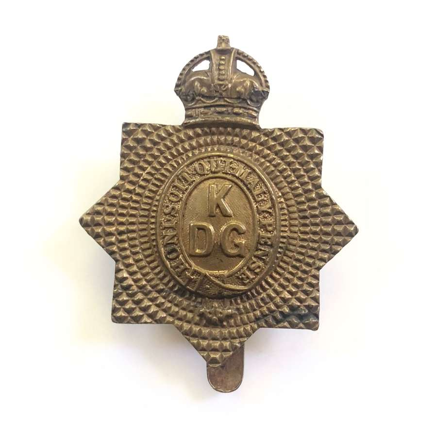 WW1 Cavalry King's Dragoon Guards all brass economy cap badge