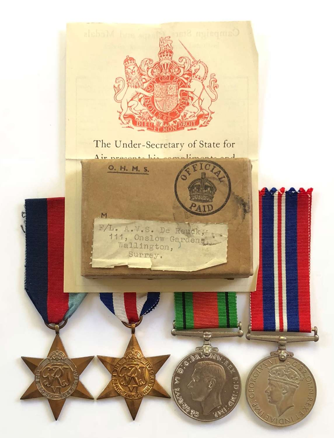WW2 RAF Officer's Campaign Medals.