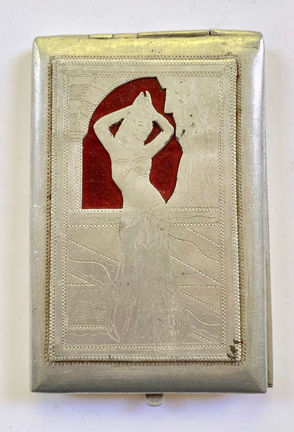 "WW2 Italian P of W Aircraft Alloy ""Belly Dancer"" Cigarette Case"