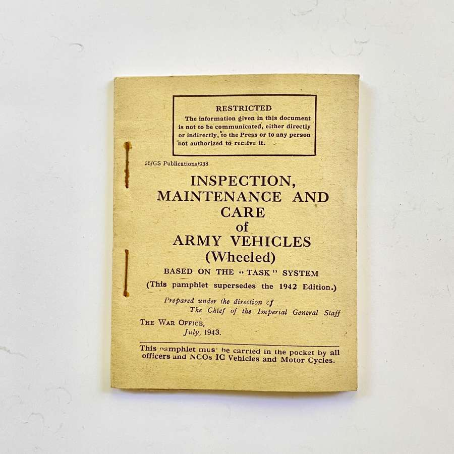 WW2 1943 British War Department Vehicles Manual.