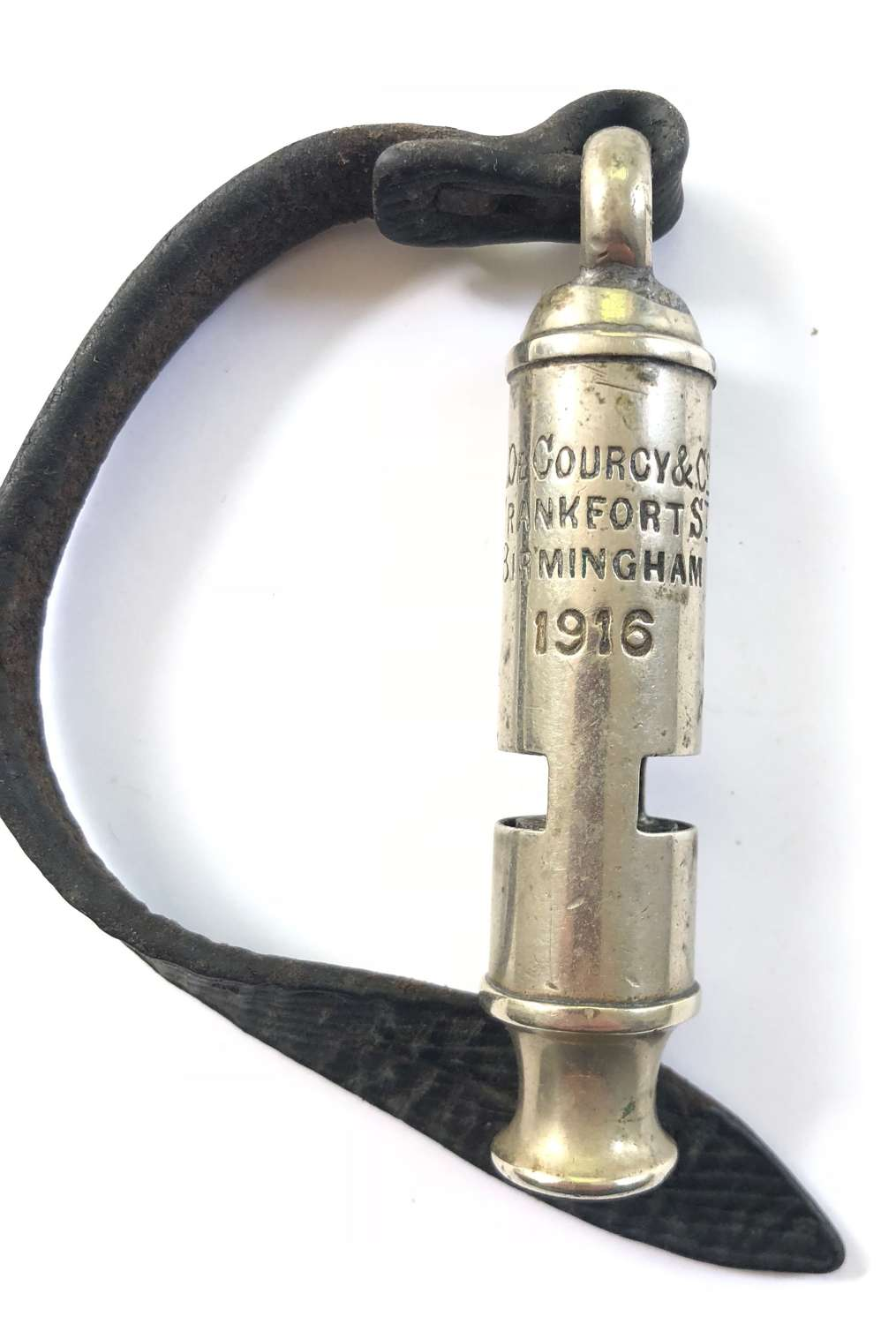 WW1 1916 British Officer's Trench Whistle & Strap.