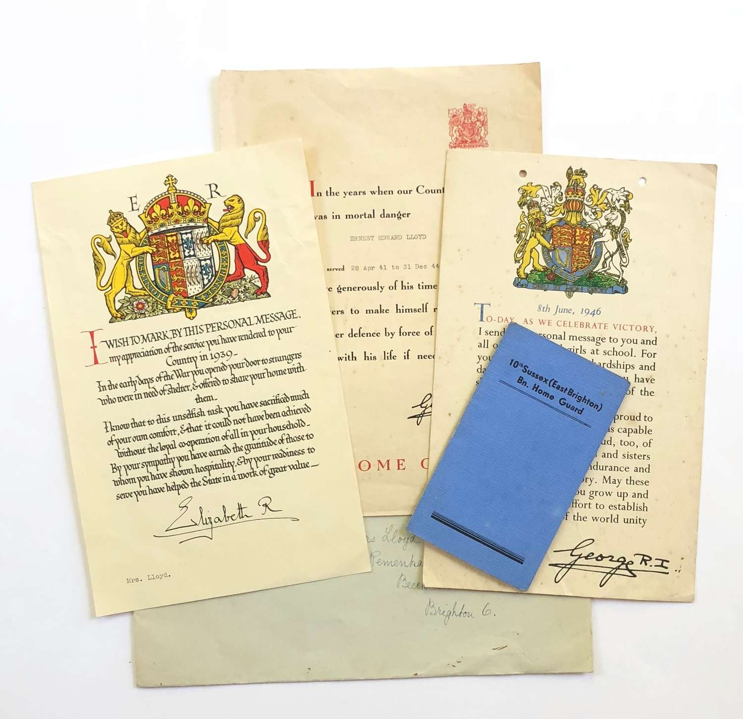 WW2 Home Front Brighton Home Guard Evacuees Certificate etc.