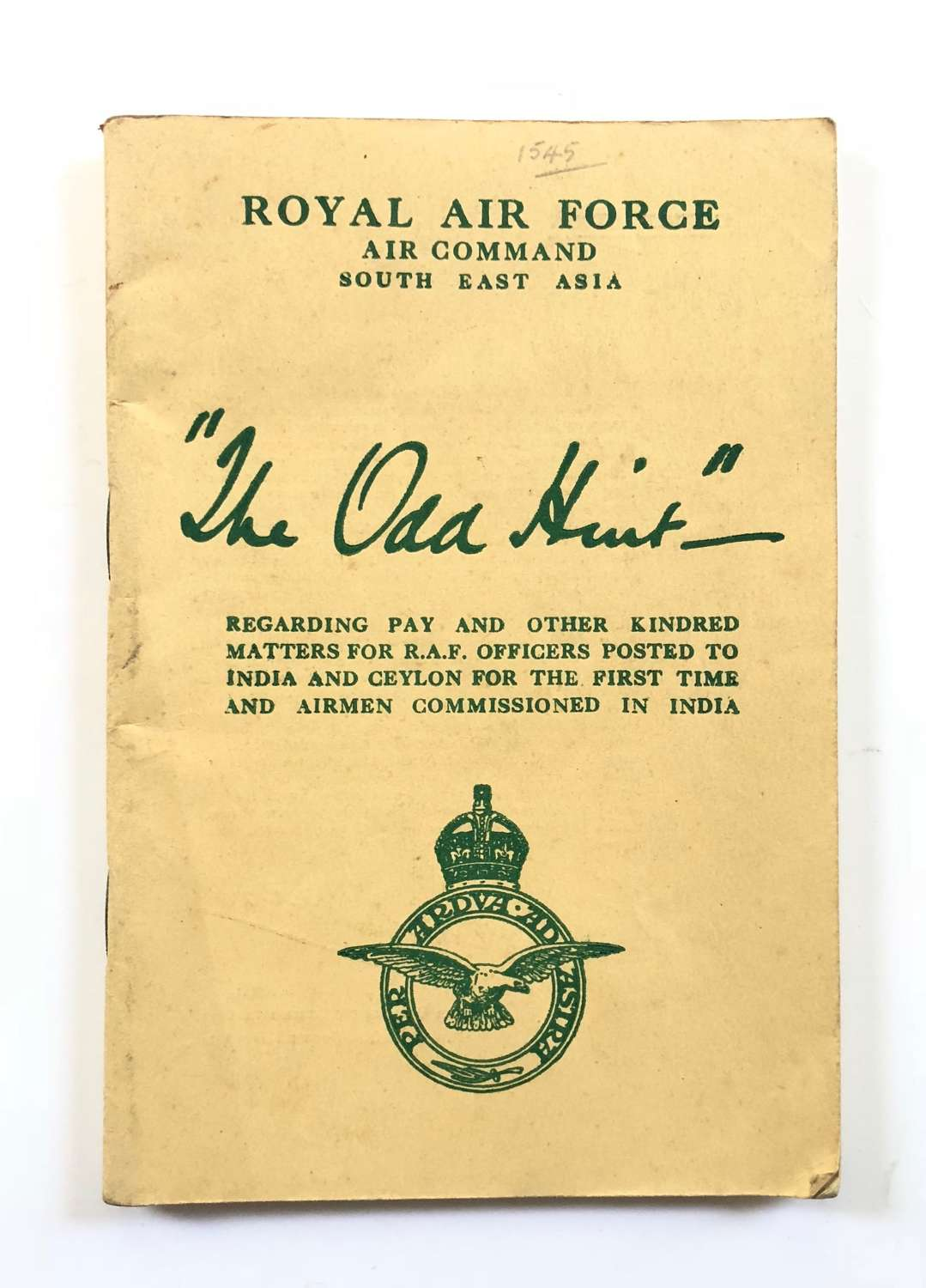 "WW2 RAF South East Asia Command ""The Odd Hint"""
