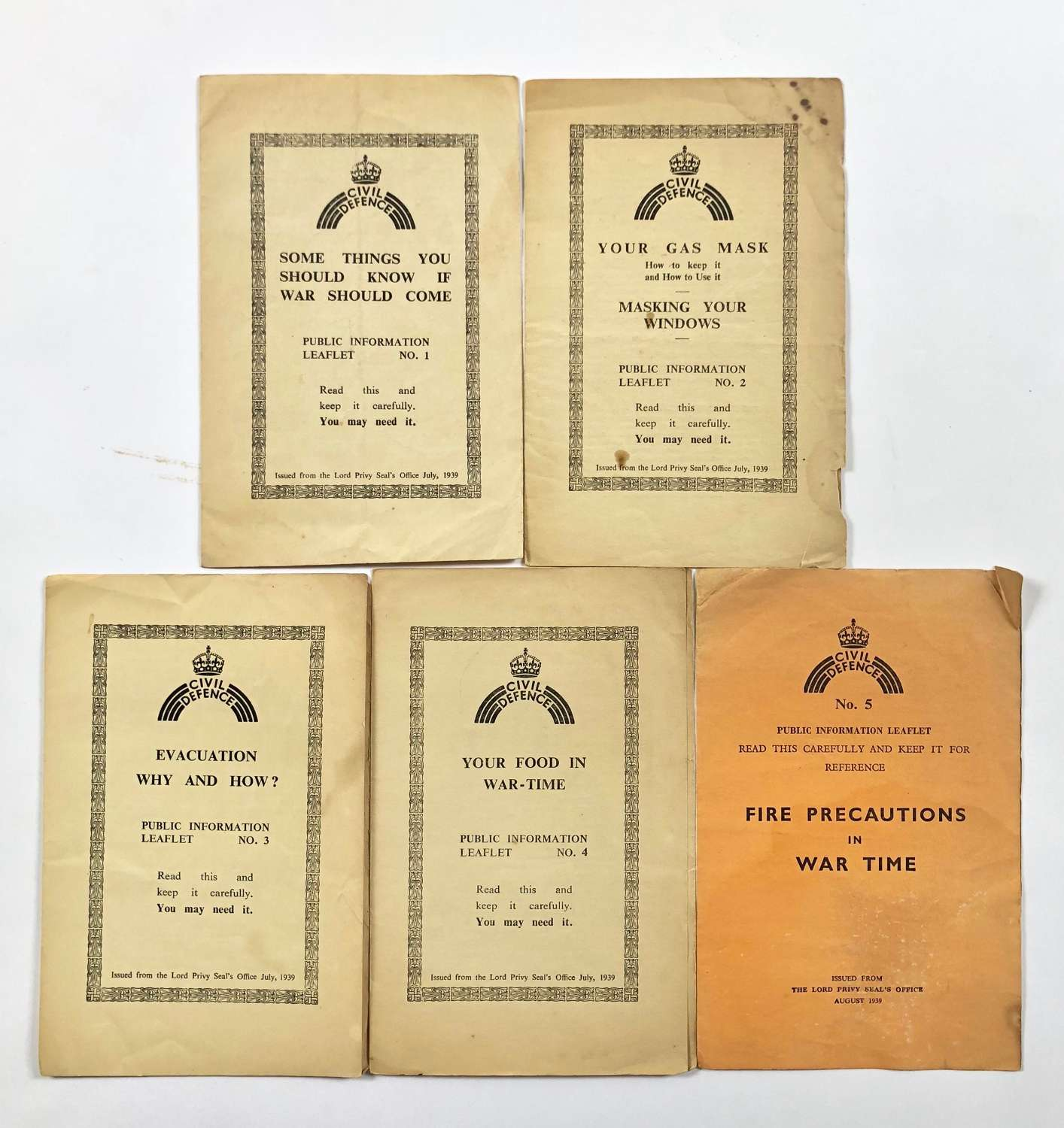 WW2 Home Front Civil Defence Pamphlets 1-5.