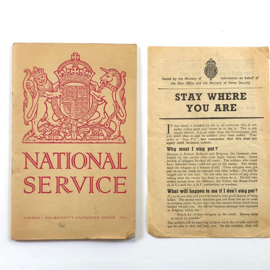 "WW2 Home Front ""Stay Where You Are"" & National Service Booklet."