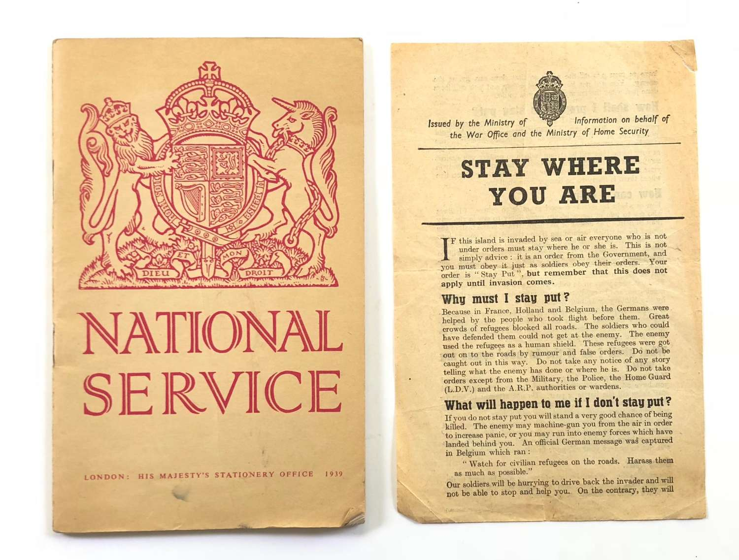 """WW2 Home Front """"Stay Where You Are"""" & National Service Booklet."""