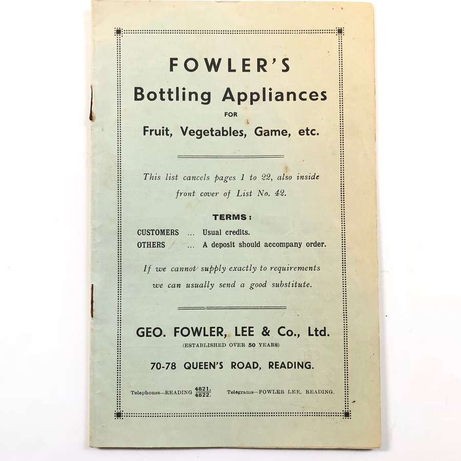 WW2 Home Front 1942 Fowler's Bottling Appliances Sales Catalogue.