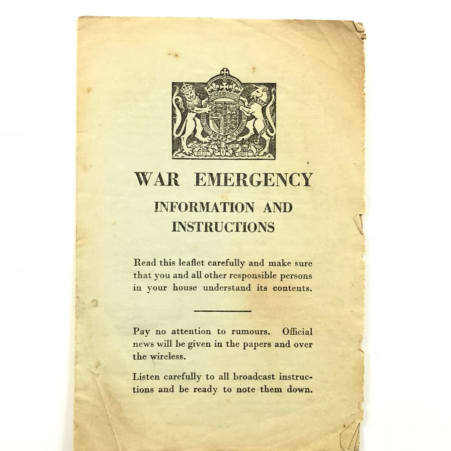 WW2 Home Front War Emergency Information & Instructions  Pamphlet