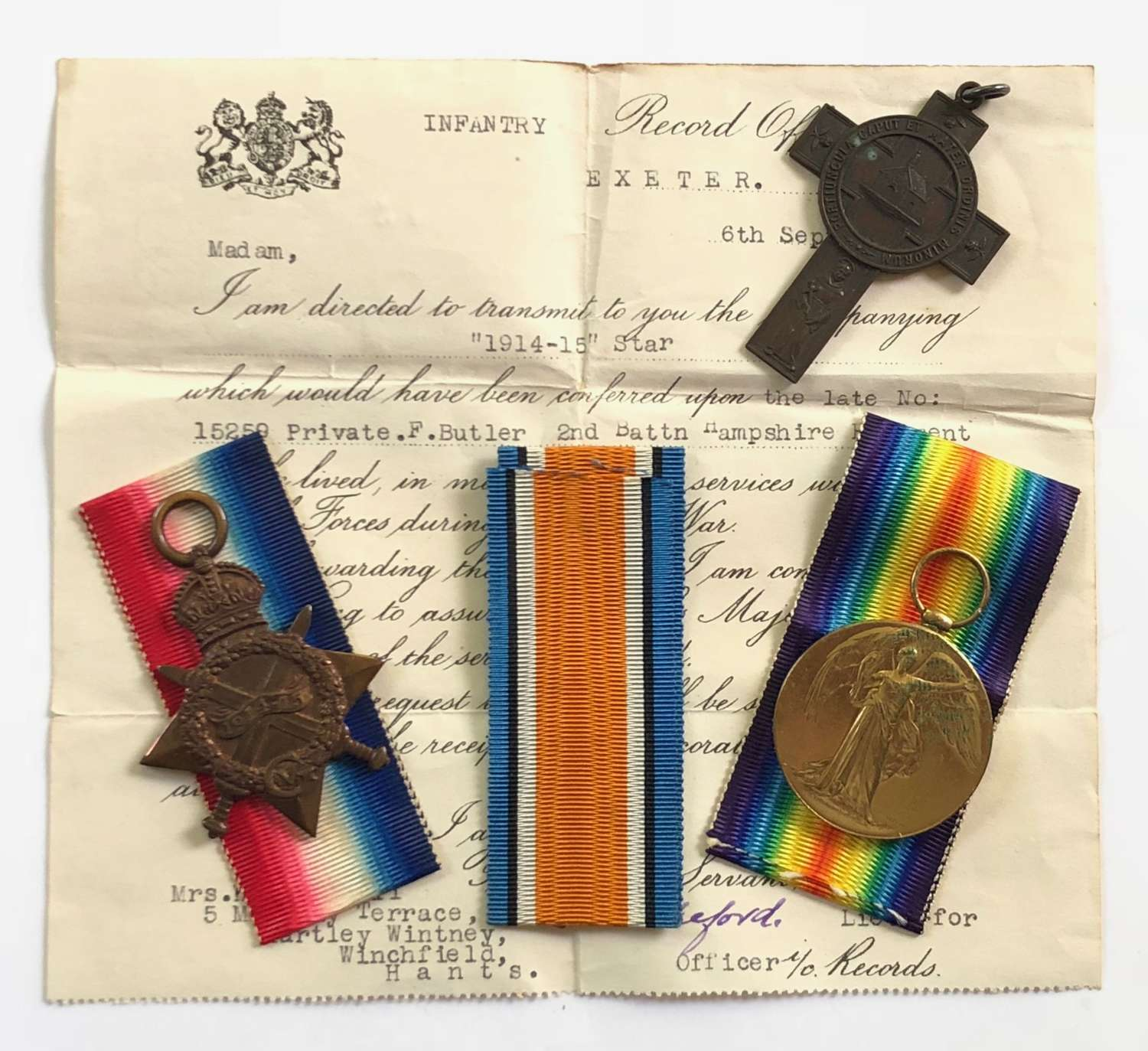 WW1 Hampshire Regiment Gallipoli Casualty Pair of Medals.