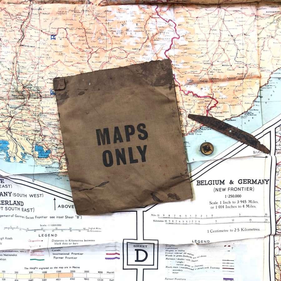 WW2 RAF Aircrew Escape Map Wallet & Contents.