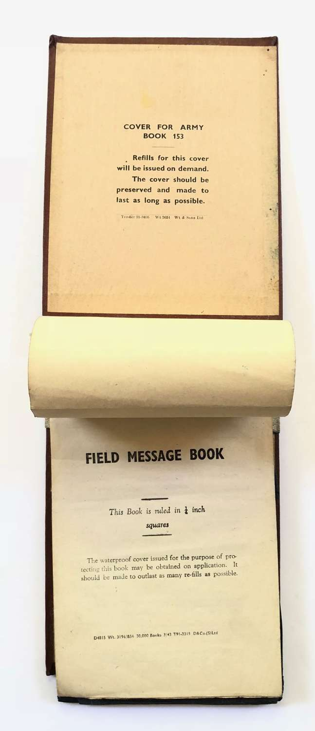WW2 1943 British Army Message Booklet & Cover.