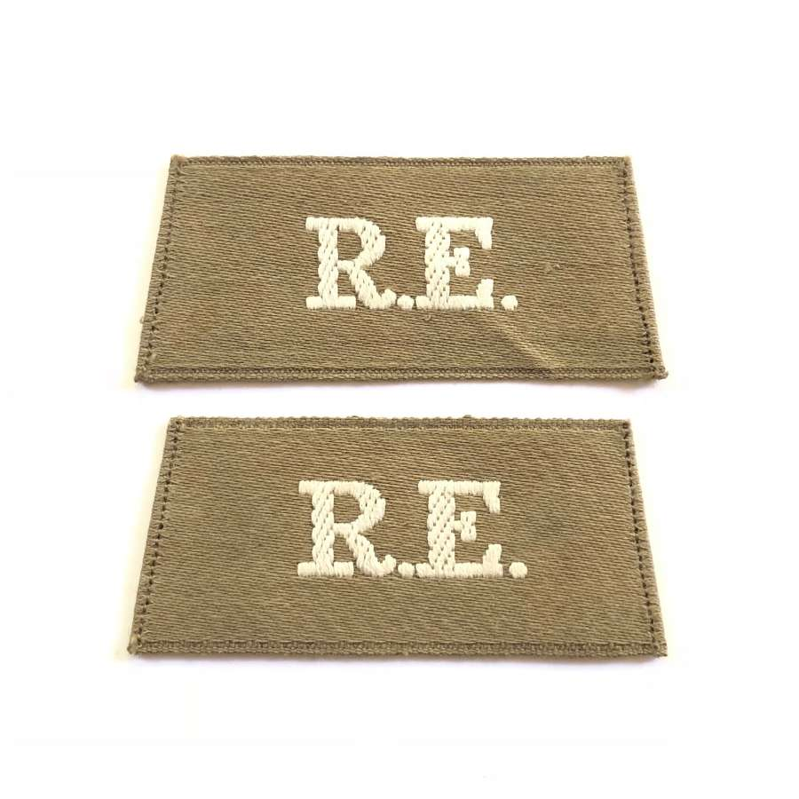"WWI Royal Engineers ""Middle East"" pattern slip on Shoulder Titles."