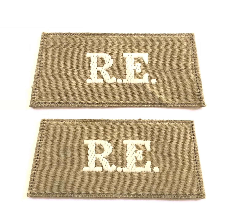 "WWI Royal Engineers ""Middle East"" pattern slip on Shoulder Titles."