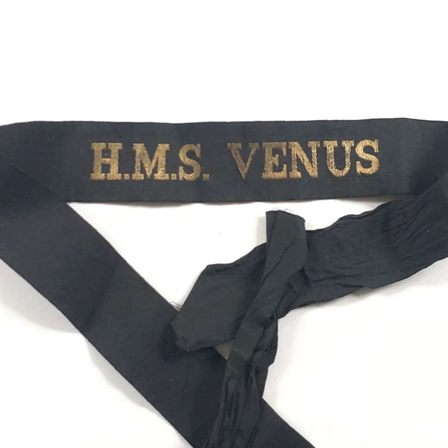 WW2 Period Royal Navy HMS Venus Ratings Cap Tally Badge.