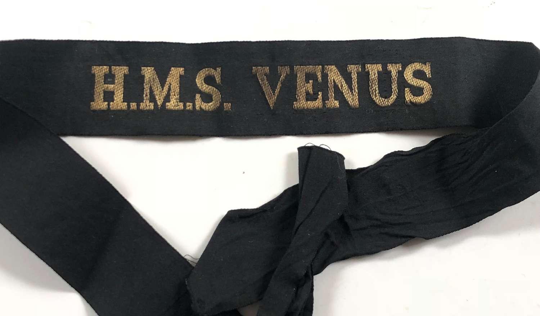 WW2 Period Royal Navy HMS Venus Ratings Cap Tally Badge.
