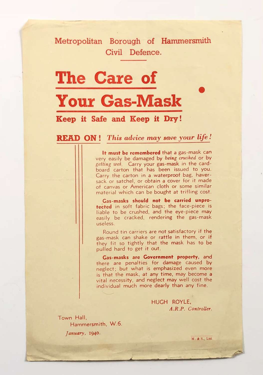 WW2 Home Front Hammersmith London Care of Gas Mask Leaflet.