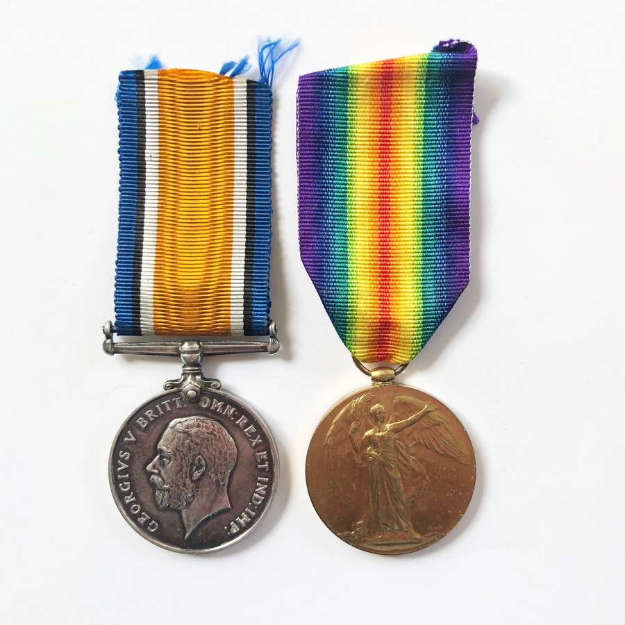 WW1 2/4th (Royal Fusiliers) Bn London Regiment Casualty Pair of Medals