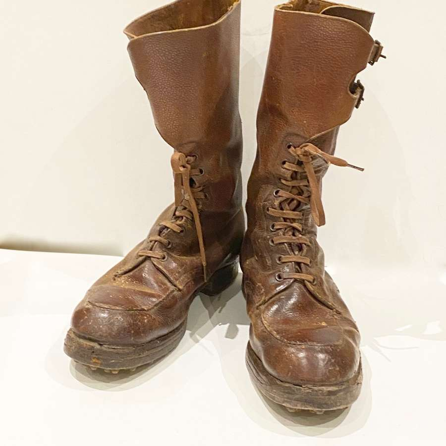 WW2 1944 British Army Officer's High Leg Large Size Field Boots.