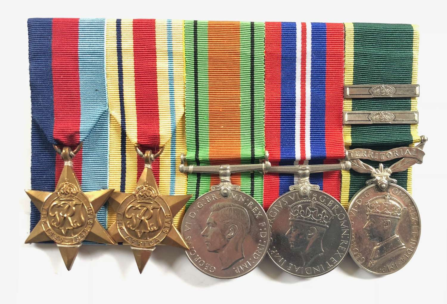 WW2 Royal Artillery Territorial Efficiency Medal With Two Clasps Group