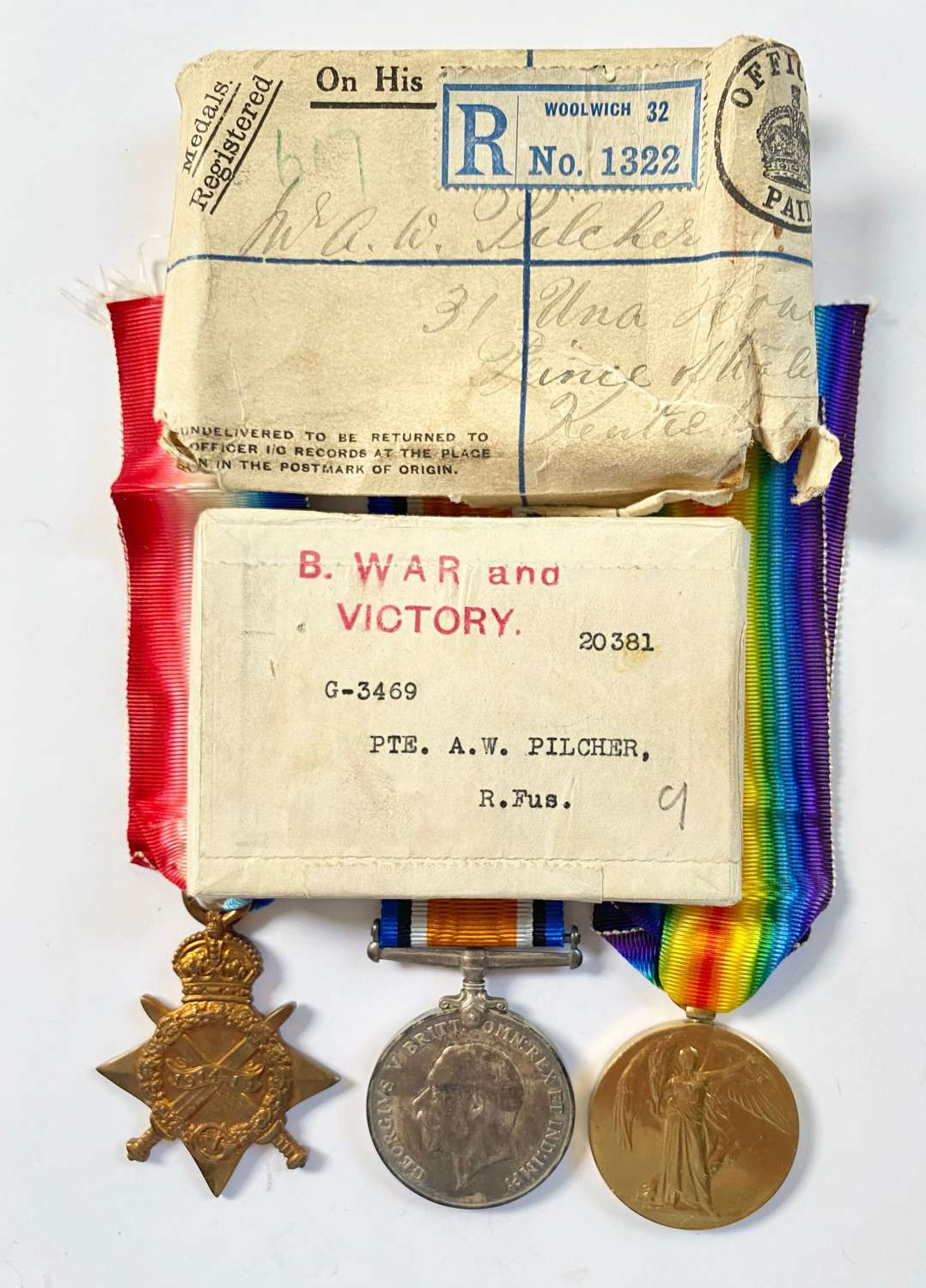 WW1 Royal Fusiliers Group of three Medals & Envelopes