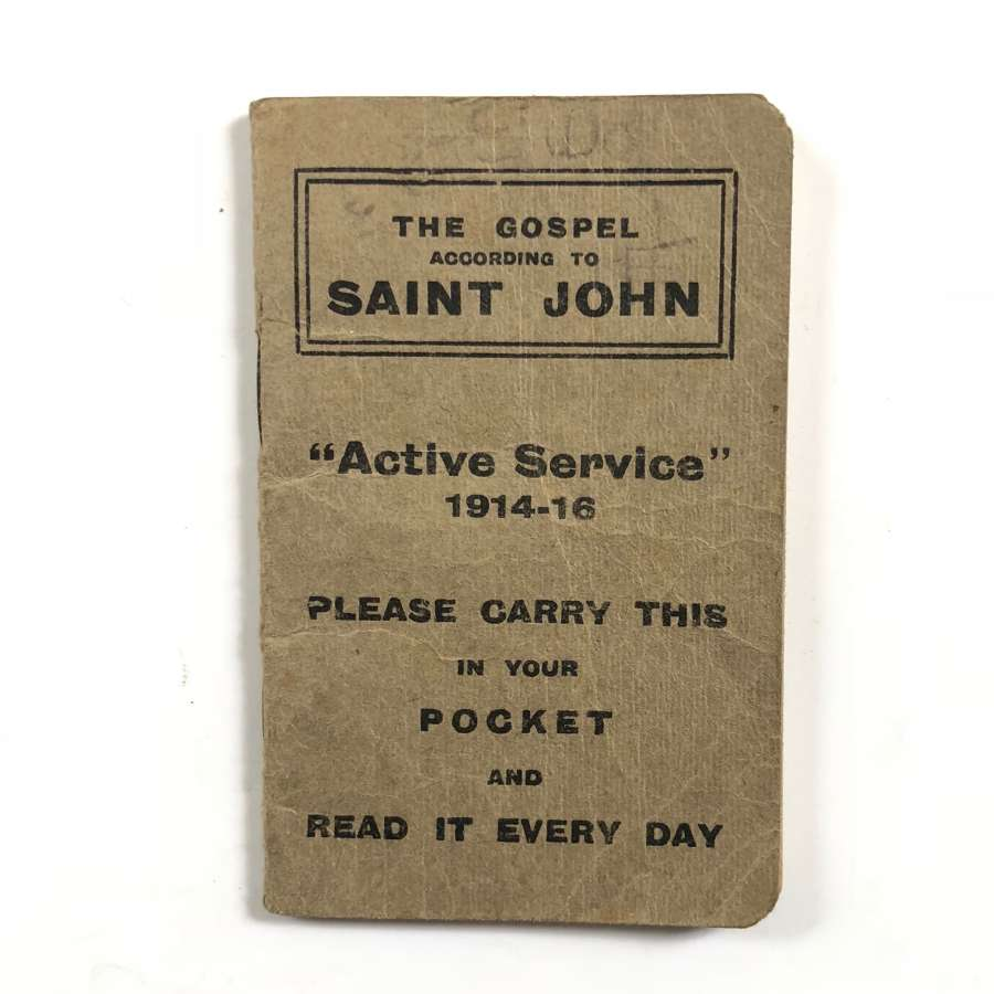 WW1 1914-1916 Active Service Gospel according to Saint John.