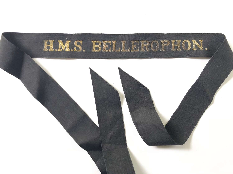 WW1 Royal Navy HMS Bellerophon Ratings Cap Tally Badge.