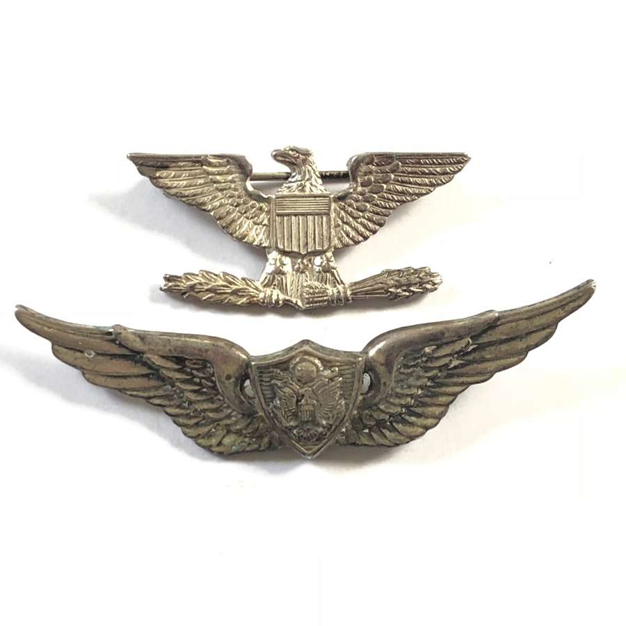 Cold War Period US Miniature Aircrew Silver Wing & Rank Badge.