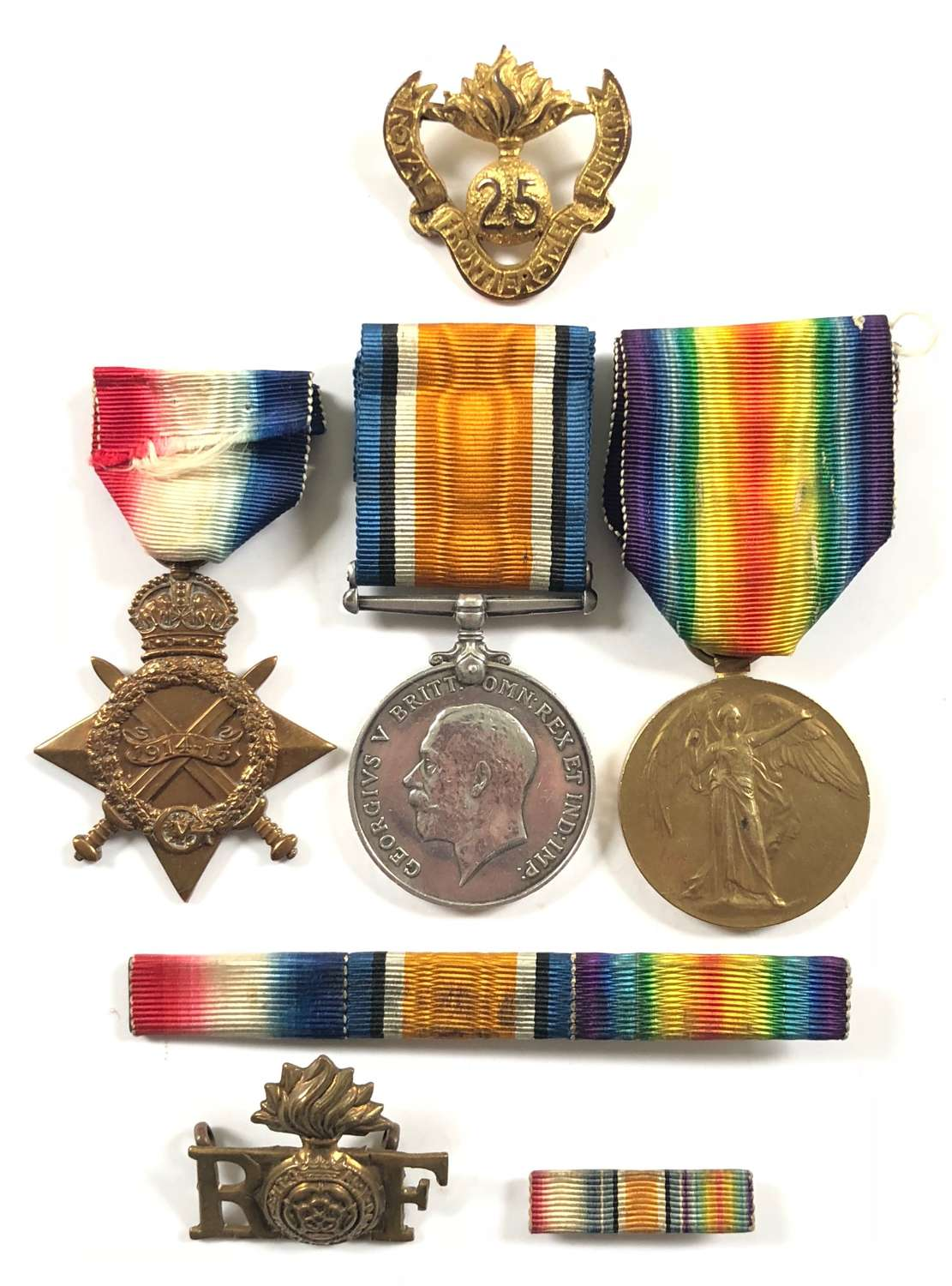 WW1 25th (Frontiersmen) Bn Royal Fusiliers Group of Medals & Brooch.