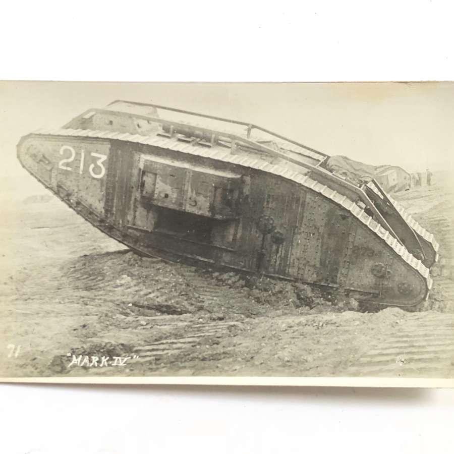 WW1 Tank Corps Photographic Postcard.